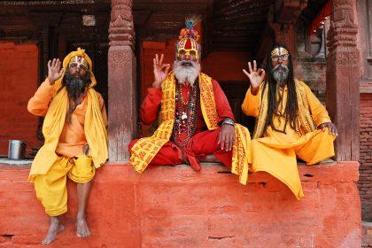 Pind daan or shradh: Three saddhus at Ktm Durbar Square